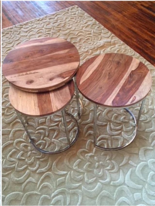 Where to find Table, Nesting, Silver Circle, Wood top in Grand Rapids