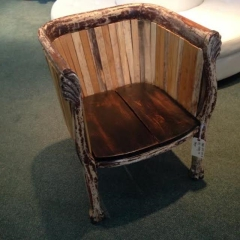 Rental store for Chair, Arm, Distressed Wood, w 1 pillow in Grand Rapids MI