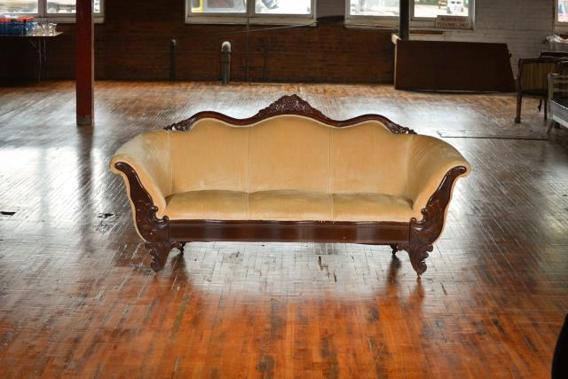 Where to find Settee, Gold Velvet in Grand Rapids