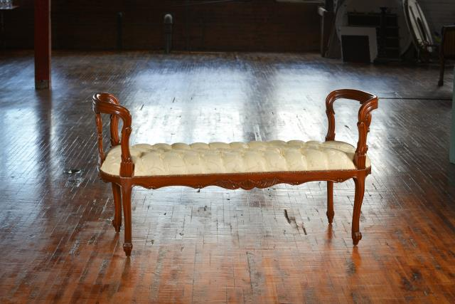 Where to find Settee, Bench with Wood Arms in Grand Rapids